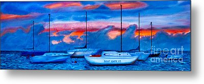 St Croix Sailboats At Sunset Painted In Oil Metal Print by Iris Richardson