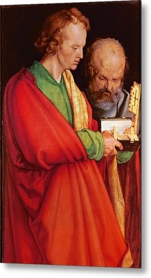 St. John With St. Peter And St. Paul With St. Mark, 1526 Oil On Panel Detail Of 170205 Metal Print by Albrecht D�rer or Duerer