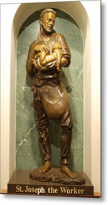 St Joseph The Worker Metal Print by Philip Ralley
