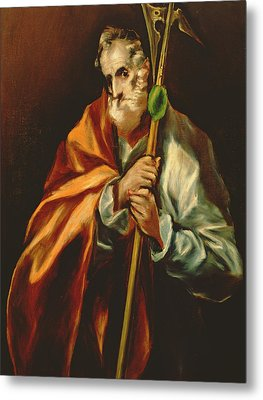 St. Jude Thaddeus, 1606 Oil On Canvas Metal Print by El Greco