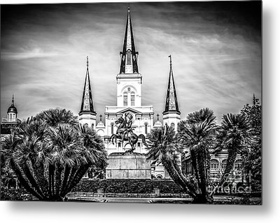 St. Louis Cathedral In New Orleans Black And White Picture Metal Print by Paul Velgos