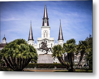 St. Louis Cathedral In New Orleans  Metal Print by Paul Velgos
