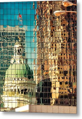 St. Louis Old Courthouse Reflected Metal Print by Jon Woodhams