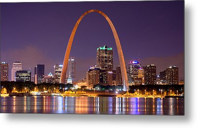 St. Louis Skyline At Night Gateway Arch Color Panorama Missouri Metal Print by Jon Holiday