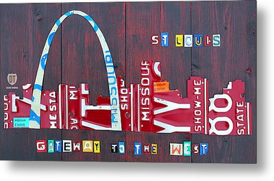 St. Louis Skyline License Plate Art Metal Print by Design Turnpike