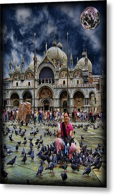 St Mark's Basilica - Feeding The Pigeons Metal Print by Lee Dos Santos