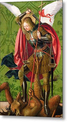St. Michael Killing The Dragon  Metal Print by Josse Lieferinxe