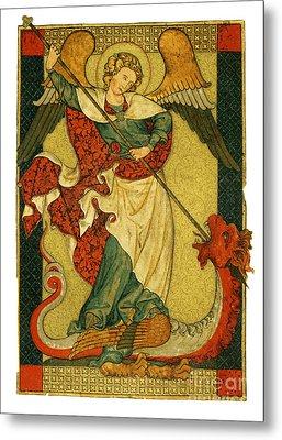 St Michael Triumphant Over The Devil Antique Painting Metal Print by Christos Georghiou