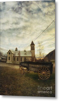 St. Pauls Anglican Church With Wagon  Metal Print by Priska Wettstein