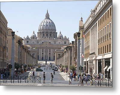 St Peter Basilica Viewed From Via Della Conciliazione. Rome Metal Print by Bernard Jaubert