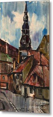 St. Peter's Church In Riga Metal Print by Anna Lobovikov-Katz
