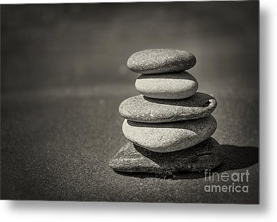 Stacked Pebbles On Beach Metal Print by Elena Elisseeva