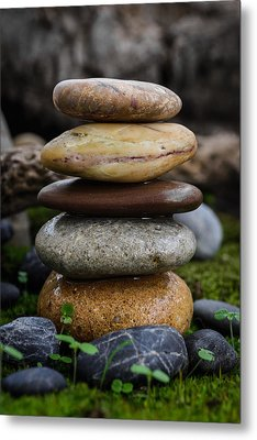 Stacked Stones A4 Metal Print by Marco Oliveira