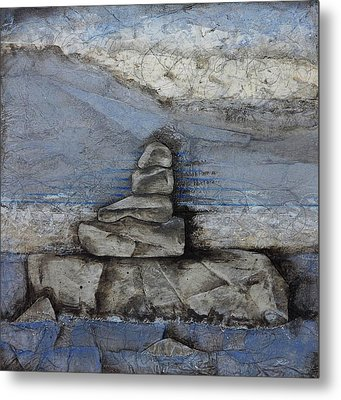 Stacking Rock Bluei Metal Print by Laura  Lein-Svencner