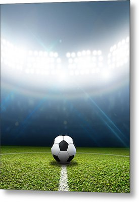 Stadium And Soccer Ball Metal Print by Allan Swart