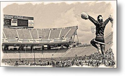 Stadium Cheer Black And White Metal Print by Tom Gari Gallery-Three-Photography