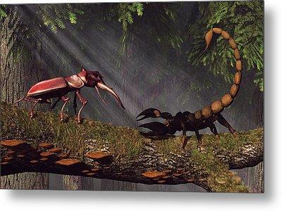Stag Beetle Versus Scorpion Metal Print by Daniel Eskridge