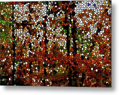 Stained Glass Autumn Colors In The Forest  Metal Print by Lanjee Chee