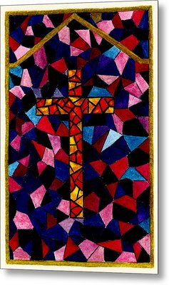 Stained Glass Cross Metal Print by Michael Vigliotti