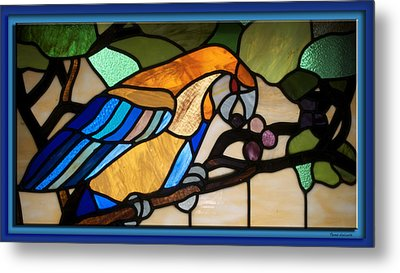 Stained Glass Parrot Window Metal Print by Thomas Woolworth