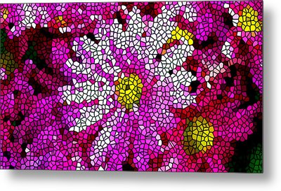 Stained Glass Pink Chrysanthemum Flower Metal Print by Lanjee Chee