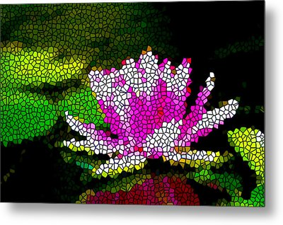 Stained Glass Pink Lotus Flower   Metal Print by Lanjee Chee