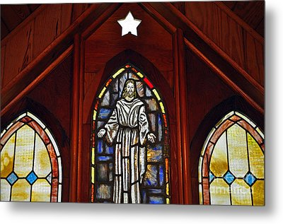 Stained Glass Saviour Metal Print by Al Powell Photography USA