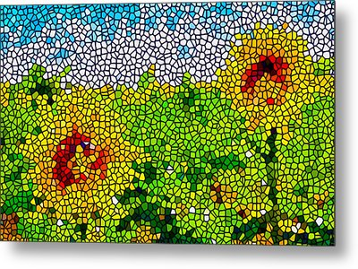 Stained Glass Sunflowers Metal Print by Lanjee Chee
