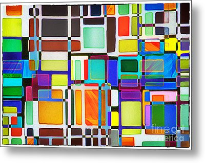 Stained Glass Window Multi-colored Abstract Metal Print by Natalie Kinnear