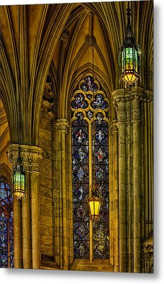 Stained Glass Windows At Saint Patricks Cathedral Metal Print by Susan Candelario