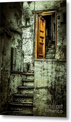Stairs Leading To The Old Door Metal Print by Catherine Arnas