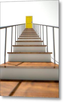 Stairway To Yellow Door Metal Print by Allan Swart