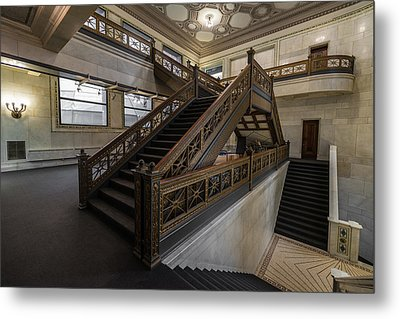 Stairwell Chicago Cultural Center Metal Print by Steve Gadomski