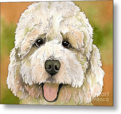 Standard White Poodle Dog Watercolor Metal Print by Cherilynn Wood