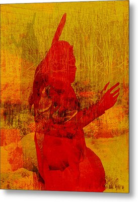 Standing Bear Park Abstract Collage Metal Print by Ann Powell