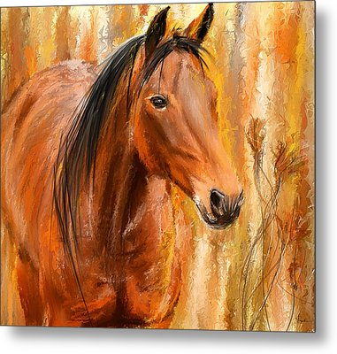 Standing Regally- Bay Horse Paintings Metal Print by Lourry Legarde