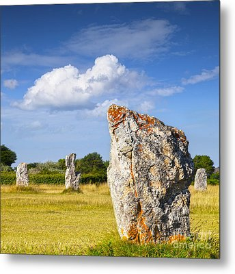 Standing Stones Lagatjar Camaret Sur Mer Brittany France Metal Print by Colin and Linda McKie