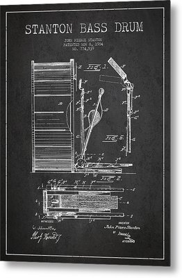 Stanton Bass Drum Patent Drawing From 1904 - Dark Metal Print by Aged Pixel