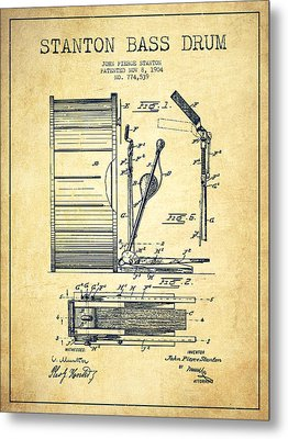 Stanton Bass Drum Patent Drawing From 1904 - Vintage Metal Print by Aged Pixel