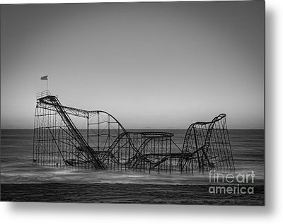 Star Jet Roller Coaster Bw Metal Print by Michael Ver Sprill