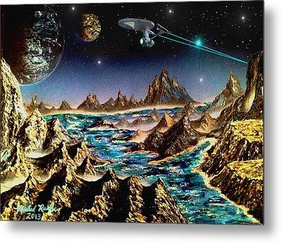 Star Trek - Orbiting Planet Metal Print by Michael Rucker
