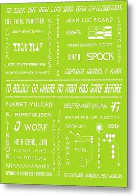Star Trek Remembered In Green Metal Print by Georgia Fowler