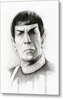 Star Trek Spock Portrait Metal Print by Olga Shvartsur
