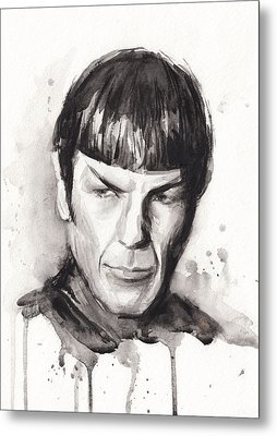 Star Trek Spock Portrait Sci-fi Art Metal Print by Olga Shvartsur