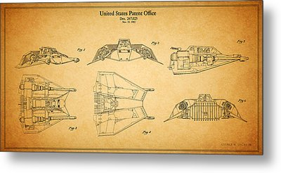 Star Wars - Space Craft Patent Metal Print by Mark Rogan