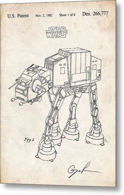 Star Wars At-at Imperial Walker Patent Art Metal Print by Stephen Chambers