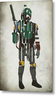 Star Wars Inspired Boba Fett Typography Artwork Metal Print by Ayse Deniz