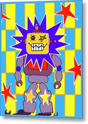 Starbot Robot Metal Print by Lynnda Rakos