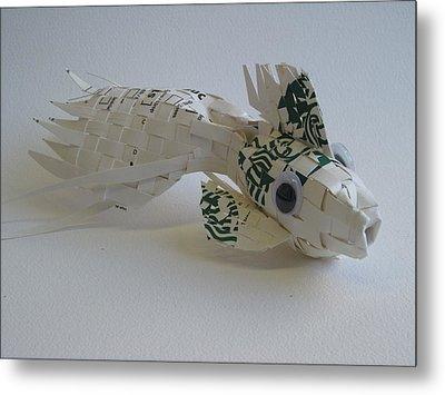 Starbucks Gold Fish Metal Print by Alfred Ng