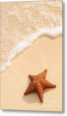 Starfish And Ocean Wave Metal Print by Elena Elisseeva
